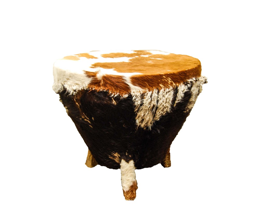 African Cowhide Drum Table
