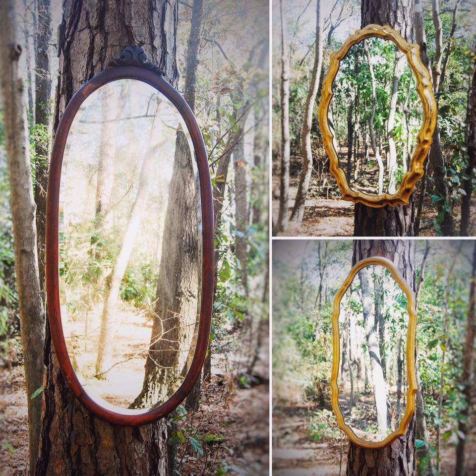 GOLD + WOOD assorted mirrors - large