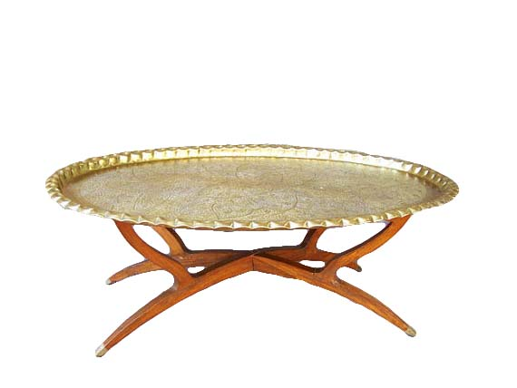 Moroccan Brass Oval Tray Table