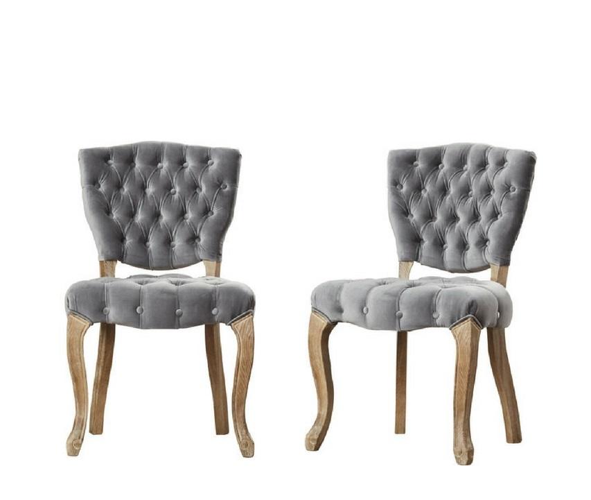 SMOKEY tufted velvet chairs (2)