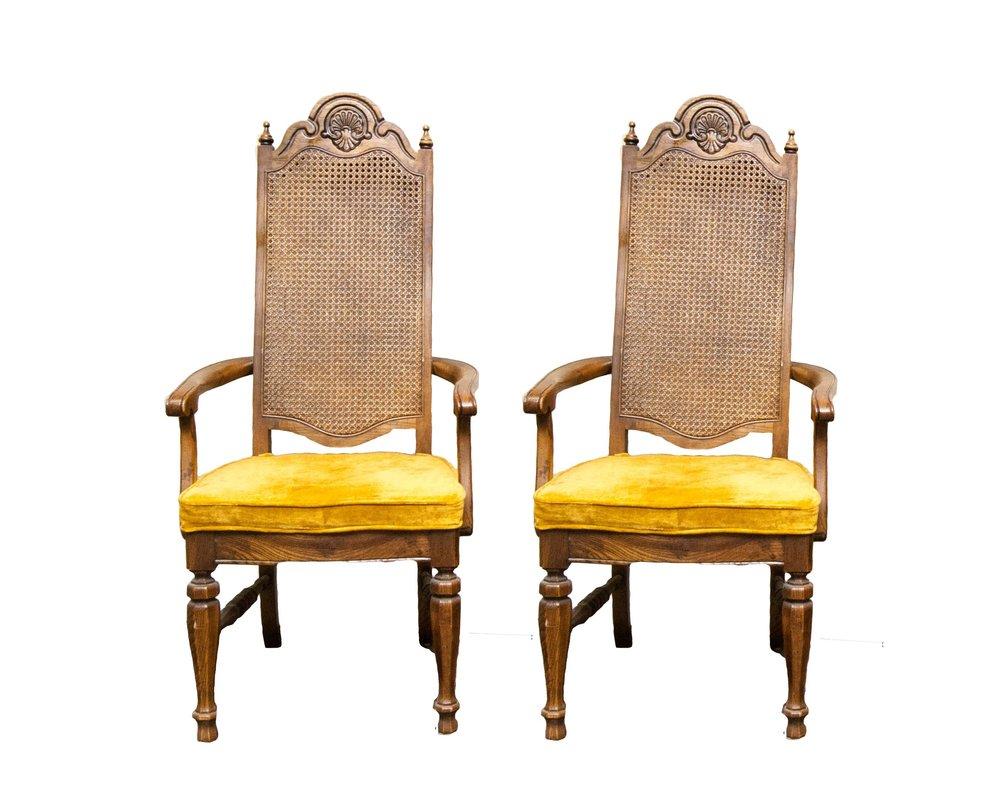 COL. MUSTARD velvet dining chairs (6)