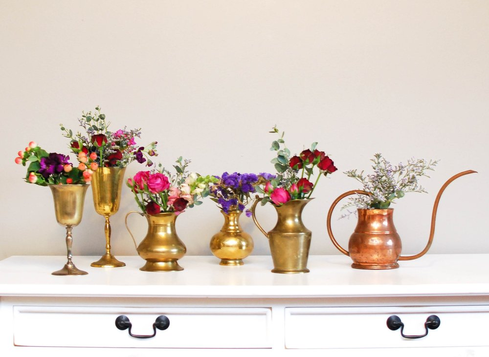 Vintage Brass Cups + Vases (Assorted)