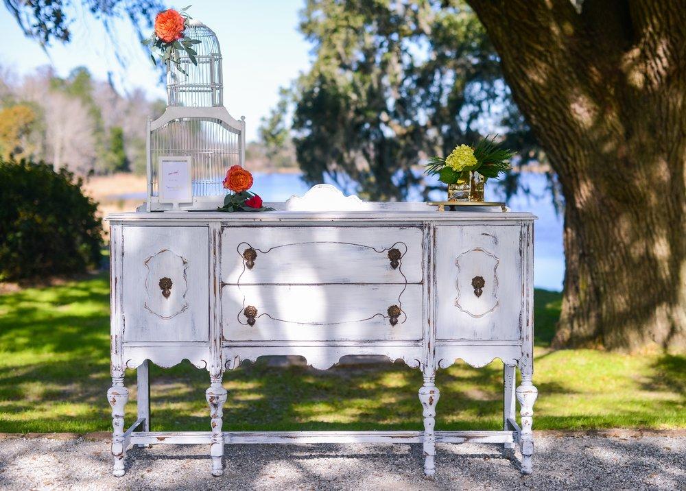 Featured Frenchie Rentals: 'Alice in Wonderland' Buffet, White Wooden Bird Cage