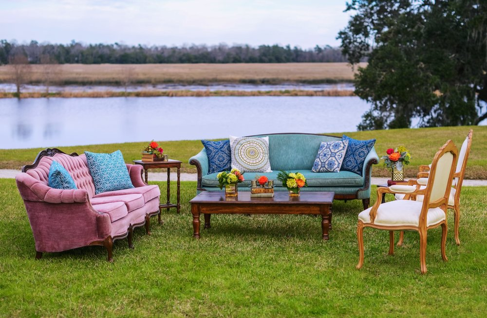 Featured Frenchie Rentals: Dusty Rose Velvet Sofa, The Life Aquatic Sofa, Nadeen Arm Chairs, Assorted Pillows + Decor