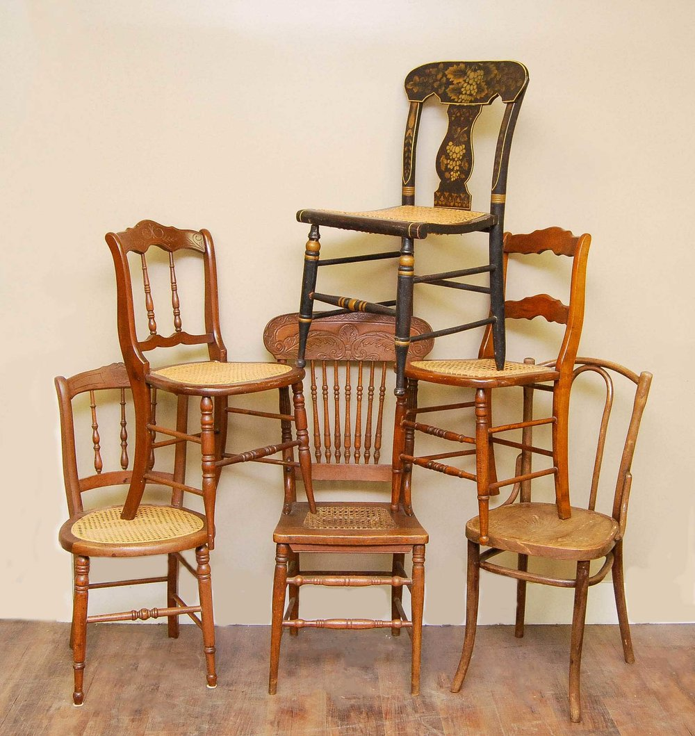 Mismatched Vintage Wood Chairs