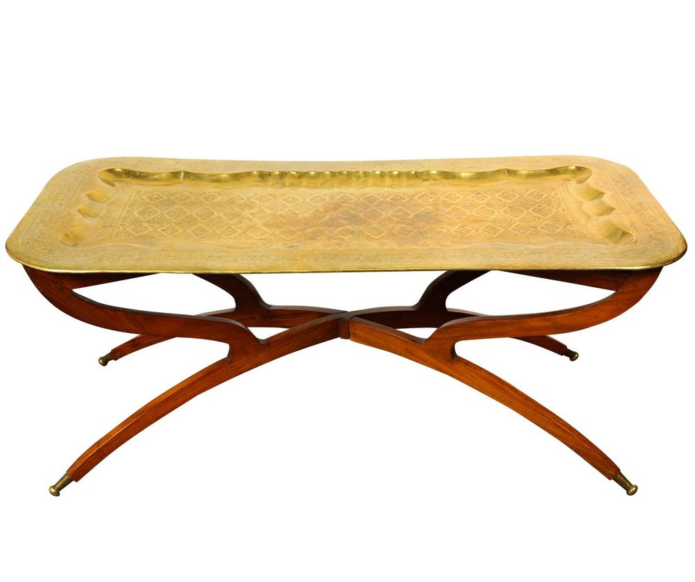Moroccan Rectangular Brass Tray Coffee Table