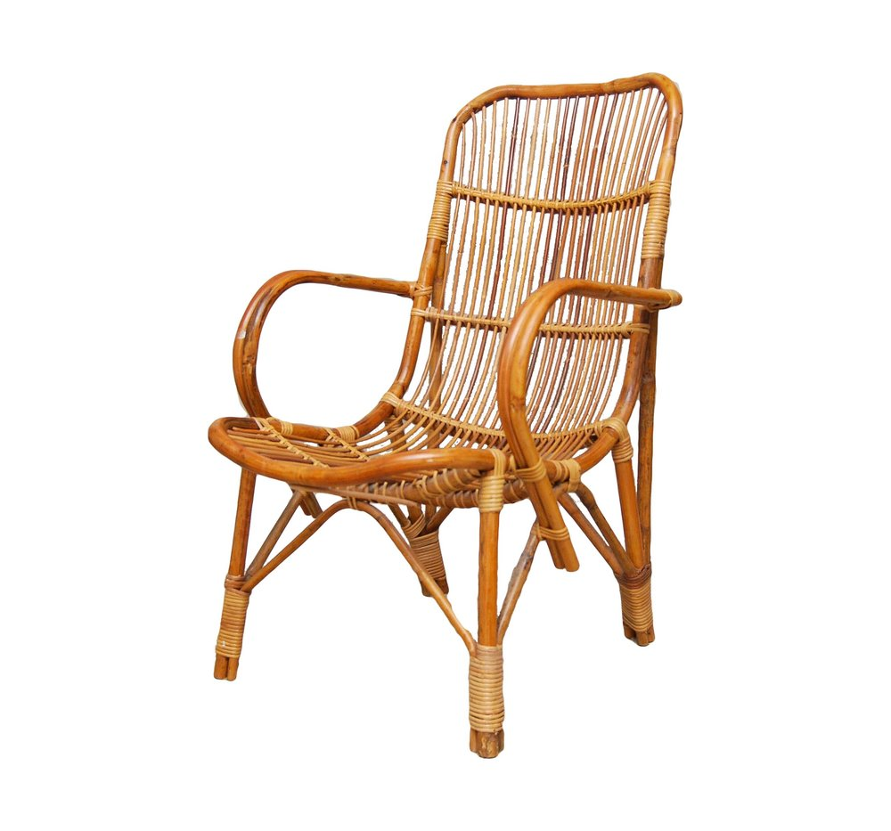 Boho rattan bamboo chair