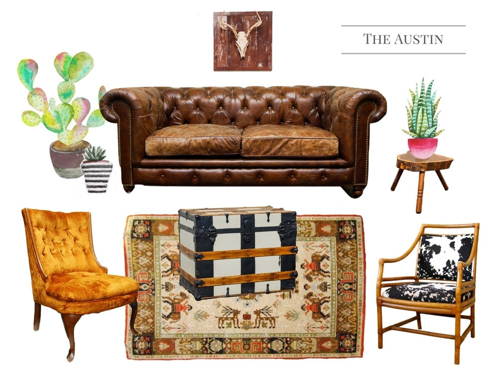 The Austin Lounge - The French Eclectic Vintage Rentals