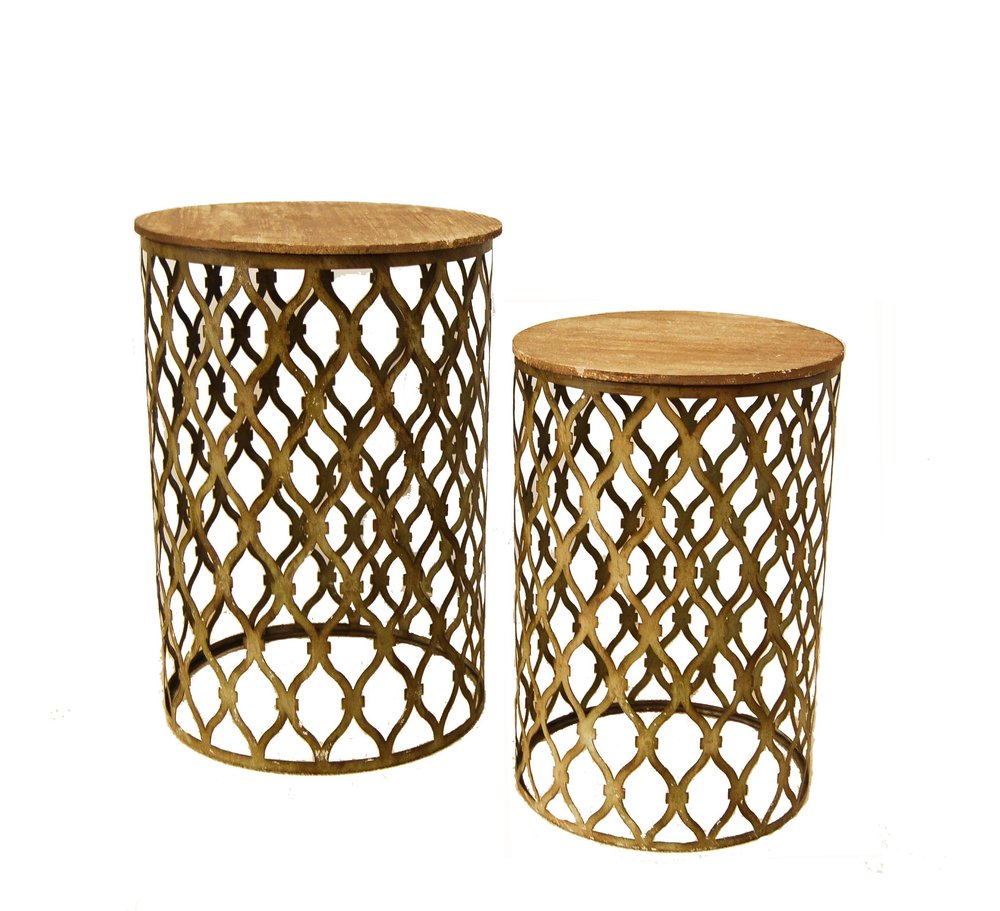 Rustic Wood & Patina Side Tables (2)