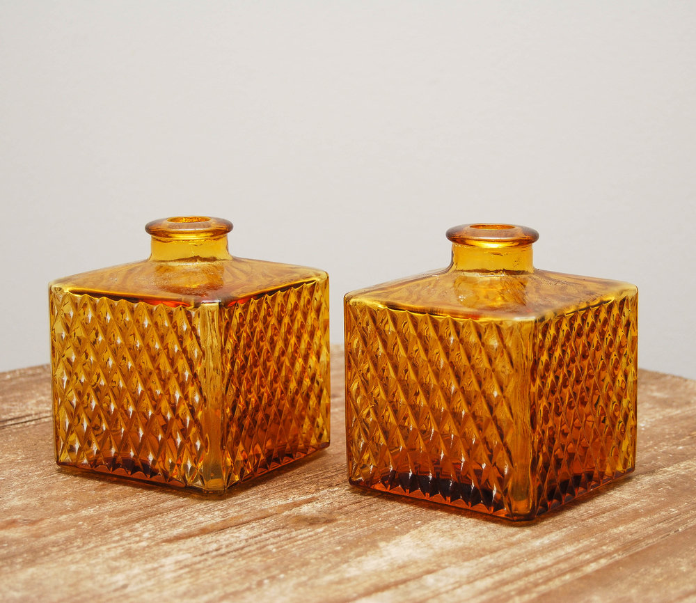 Vintage Gold Glass Decanters (2)
