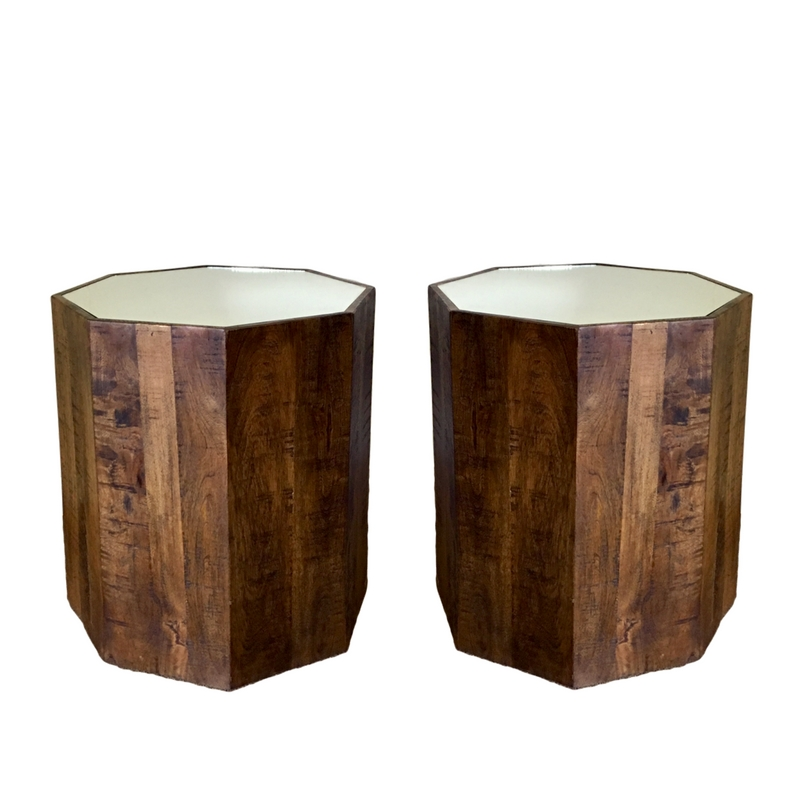 Wooden Mirrored Geo Side Tables (2)