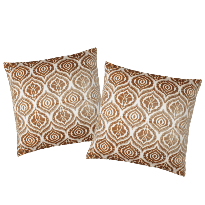 Gold Velvet Ikat Pillows (2)