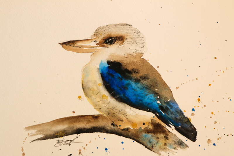 "DAY ONE: Kookaburra (5.8x8.3"") Watercolour and Unipin Pen"