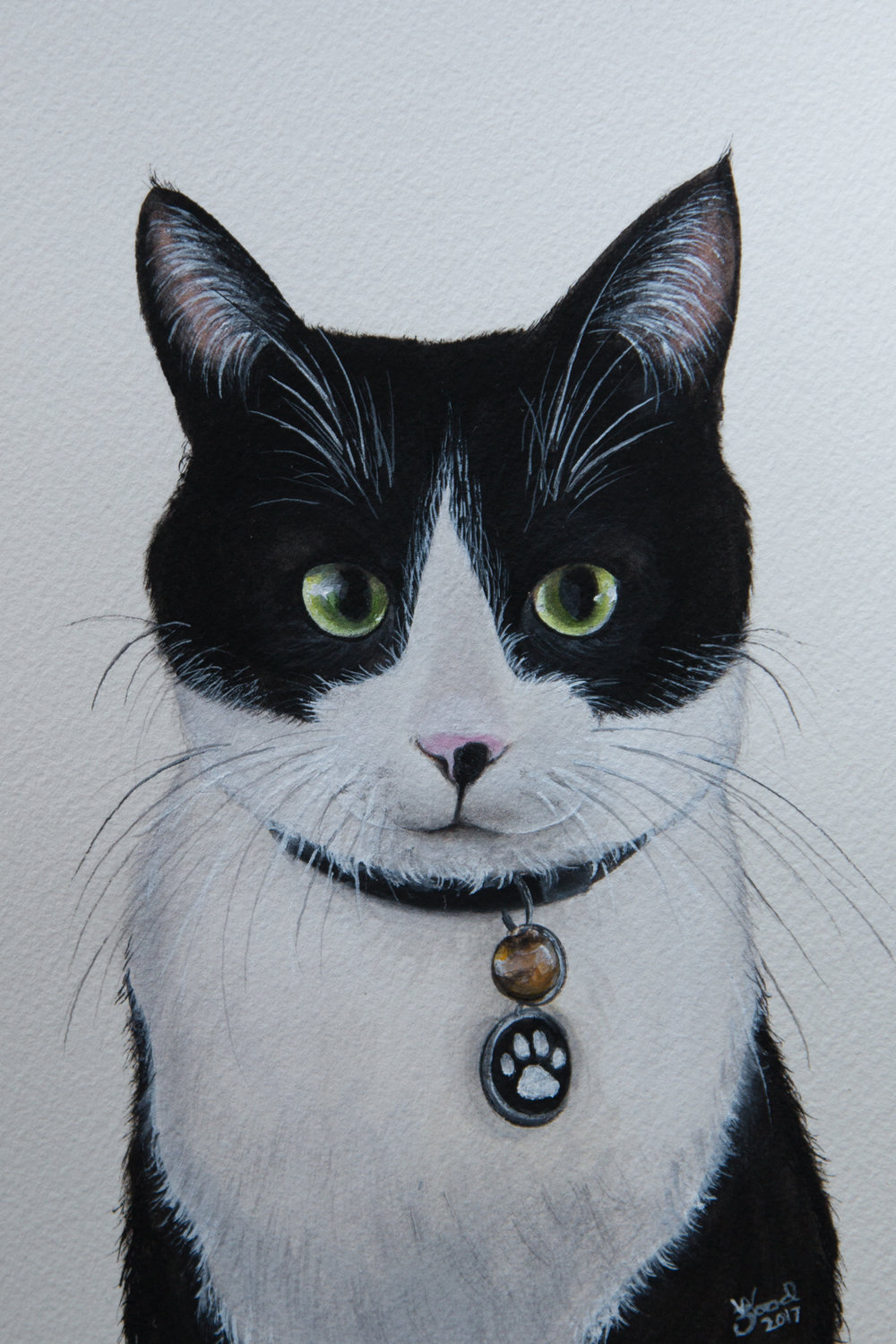 """We couldn't have been more thrilled with the portrait of our dear Smudge. What we love most is the way Zoe captured her eyes so realistically (they're a bit googly) and her Batman mask on her face. I would recommend Zoe's incredible artistic talents without hesitation to anyone wanting to immortalise their special furry friend."" -  Matthew and Toby, Williamstown"