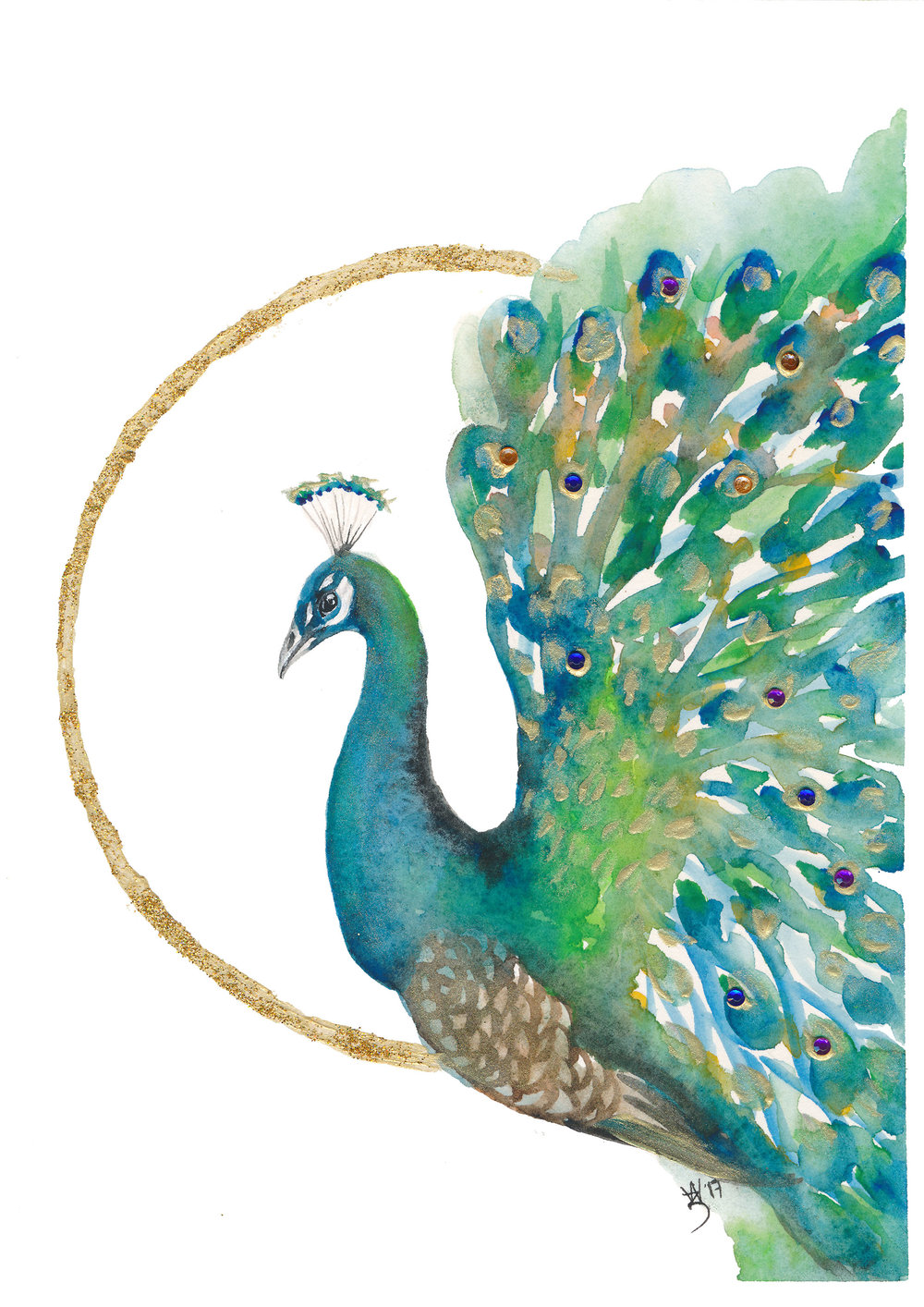 Day 5 - Peacock - Watercolour and Gold Acrylic (glitter) - Zoe Wood 2017 (print ready).jpg
