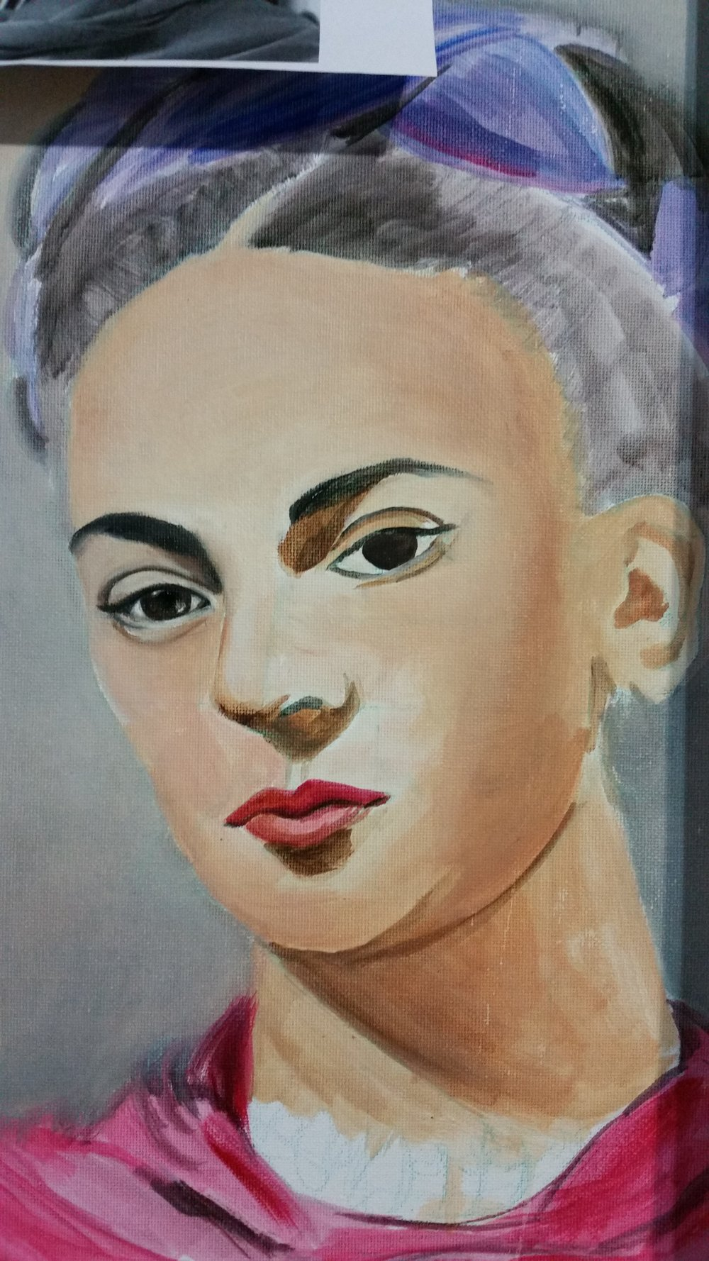 First layers - Frida Kahlo in oil- Zoe Wood 2017
