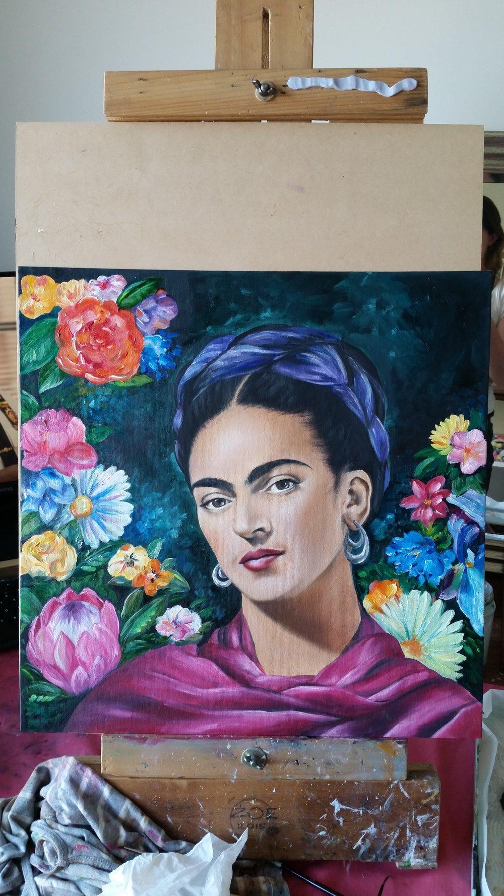 Flowers Frida oil painting - Zoe Wood 2017