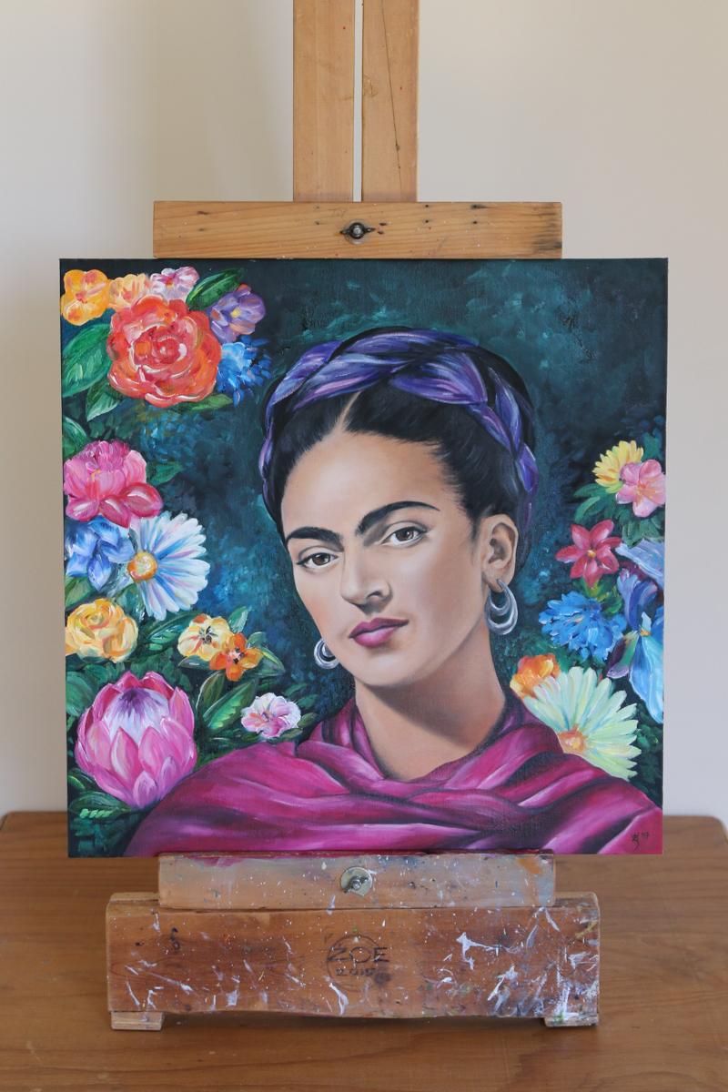 Frida Kahlo with flowers Oil - Zoe Wood 2017 (1 of 1).jpg