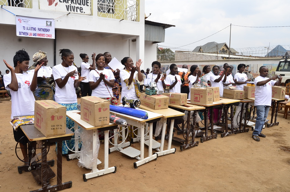 Sewing machines and other materials given to students at Let Africa Live Provided by Donations to Mwendo Congo