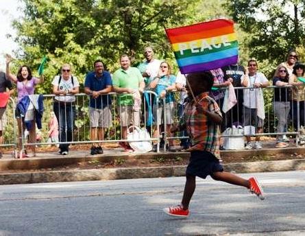 Pride School Atlanta youth supporter at the parade during PRIDE 2014 in Atlanta.