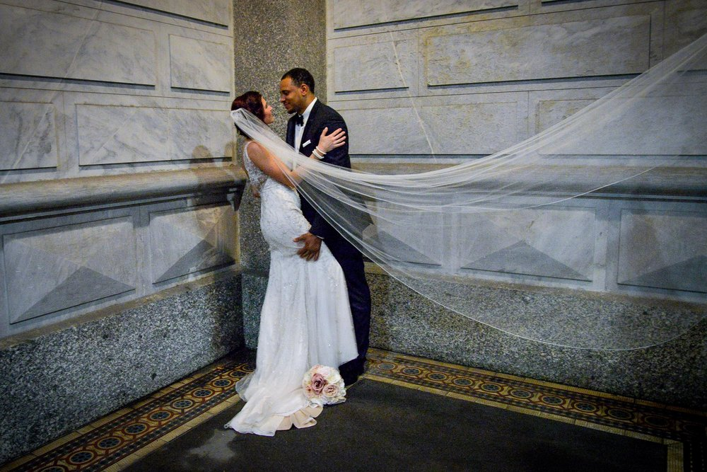 Philadelphia City Hall bride and groom