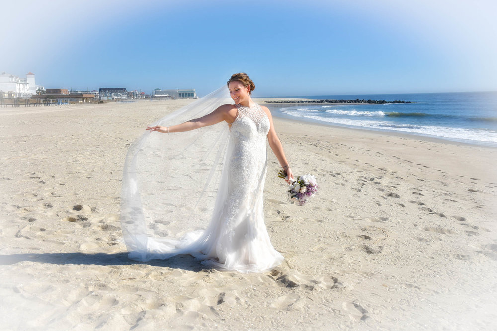 Cape May beach bride