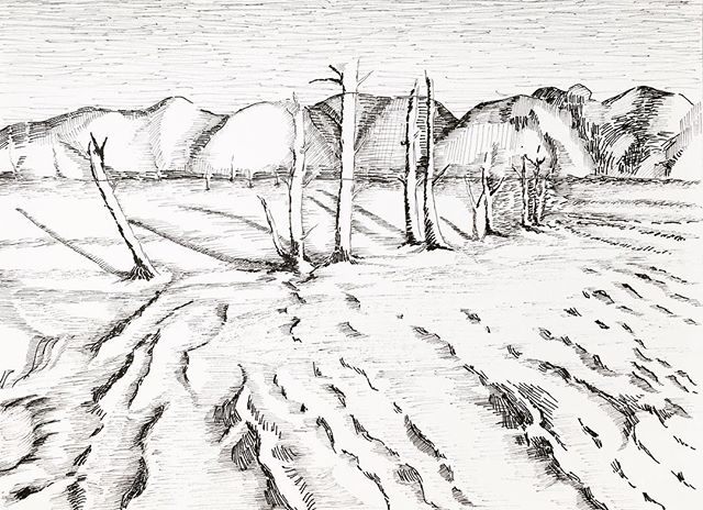 Practicing landscape drawing #thewaterskloof
