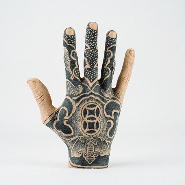 Another one of our favourites @jynt's sick tattooed Thing is available to purchase through our auction, ends in less than 48 hours! #thinggallery #tattooedhand #handtattoo #silicone #siliconeart #galleryauction #tattooart #buyart #curiousart #siliconemould #tattooartist