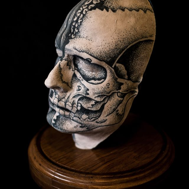 Bid on this sick tattooed silicone face by @goatlumps & @spiderxdeath, available to purchase through our online auction! Bidding starts at $199, stand included (not pictured). #galleryexhibition #gallerysale #tattooart #silicone #siliconeart #siliconehand #siliconemould #artsale #thinggallery #tattoo #tattoos #tattooart #tattooedhand #handtattoo #curiousart #tattooedface #facetattoo #skulltattoo #flesh #fakeflesh #fakeskin #buyart