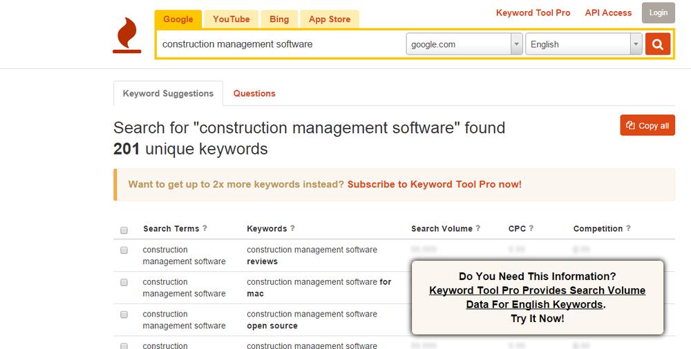 Use Keywordtool.io before breaking into Mozbar hacks.