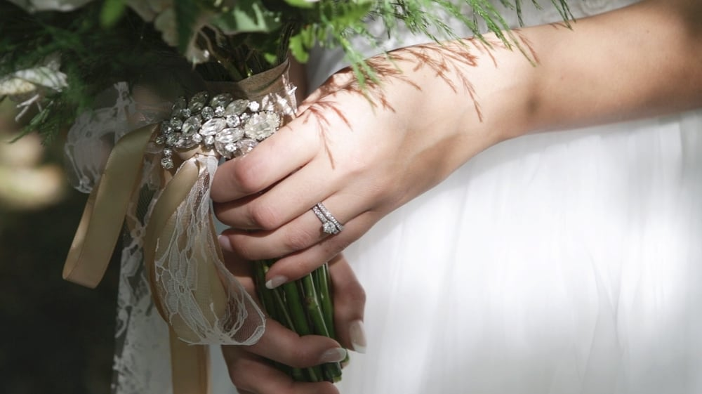 A bride's beautiful ring and bouquet. Prairie Film Co, September 2015.