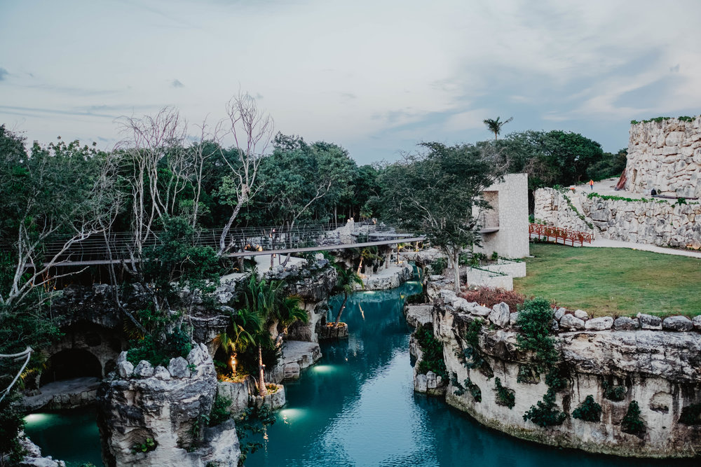 The swinging bridges and lazy river system at Hotel Xcaret Mexico.