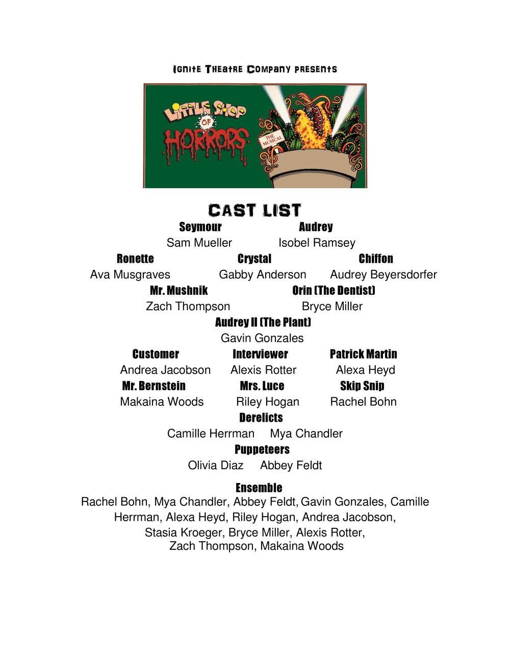 Little Shop of Horrors at Southampton Church will run July 27-30 Tickets available at: http://www.brownpapertickets.com/event/2791426