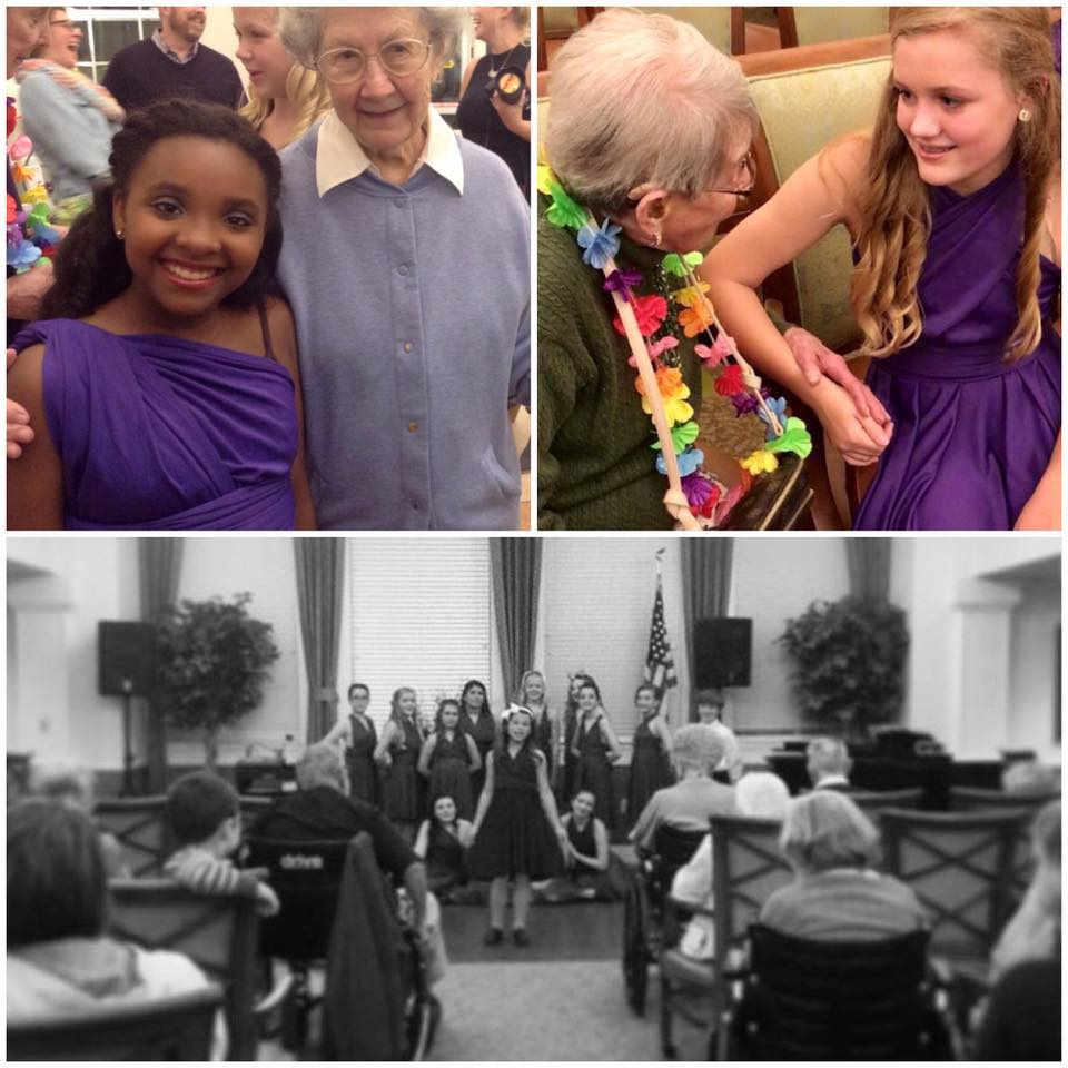 Performance Team members sing for friends (and new pen pals) at Crestview Senior Living in Crestwood, MO.
