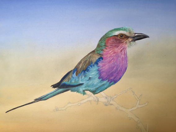 The painting in progress, the base colors have been blocked in partially, below the reference photograph