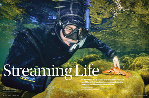 He defended his master's thesis underwater, and now mike irvine has big dreams about bringing the environment up close and digital