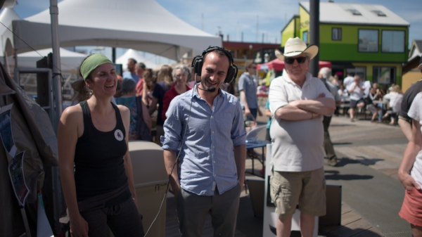co-founders Maeva Gauthier and Mike irvine at their annual World oceans day event at fisherman's Wharf in Victoria, bc (photo credit: Jeff Reynolds Photography)