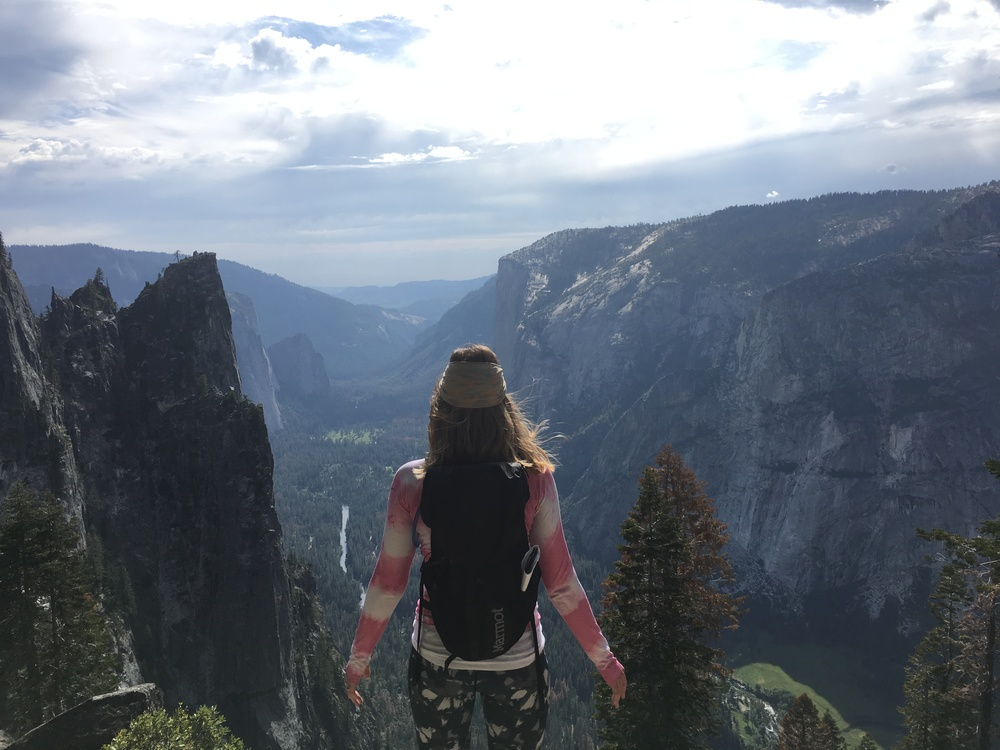 Wearing Beyond Yoga pants while hiking in Yosemite.