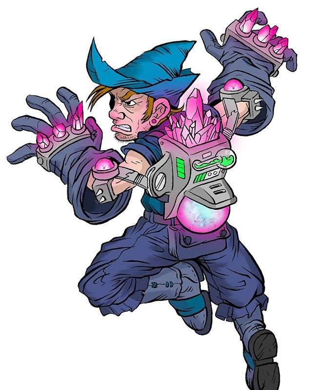 More #Battlegridchampions coming attcha! This time is the #mage class. This gnome lucked into owning the channeling gauntlets. They were a tad to heavy and oversized for him but he built a exoarmor powered by magic to make em easy to use. Added bonus the cytonian gems that power the exoarmor also magnify the gauntlets powers.  #mage #wizard #illustration #fantasyart #characterdesign #ghostbatart #digitalart