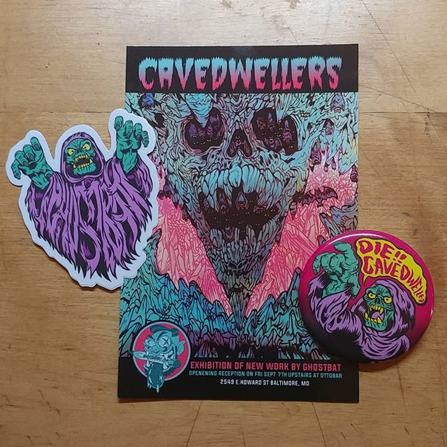 Okay all, check it out. To the first 50 people who come out to my first #artshow #Cavedwellers @theottobar on Friday Sept 7th 2018 you get a #free #diecut #sticker and 2.5 inch #button featuring the ghost hermit.  If you're #Baltimore local keep your peepers peeled for my handout!  #illustration #ghostbatart #artwork