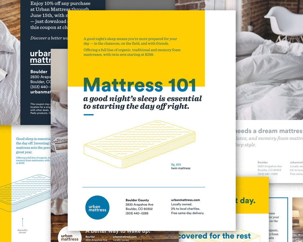 Urban Mattress: various advertisements for print