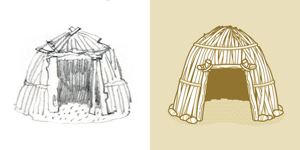 rough sketch and final version of shelter illustration