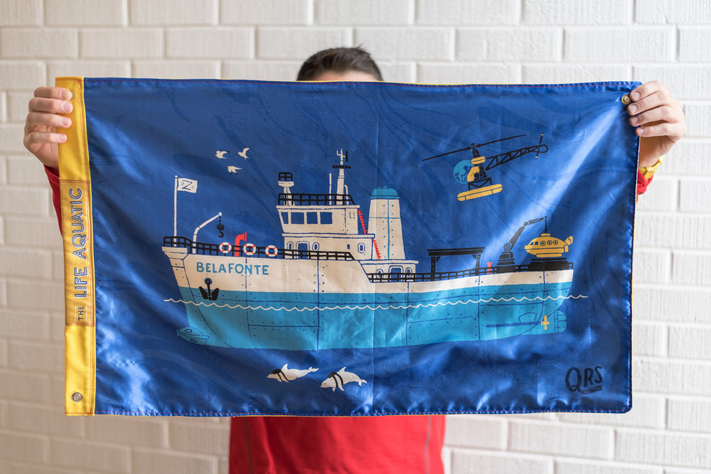 flag prototype featuring the Belafonte from Wes Anderson's film  The Life Aquatic