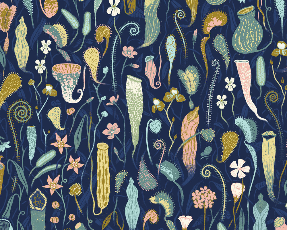 The pattern includes over 100 individual illustrations, all representing real plant species.