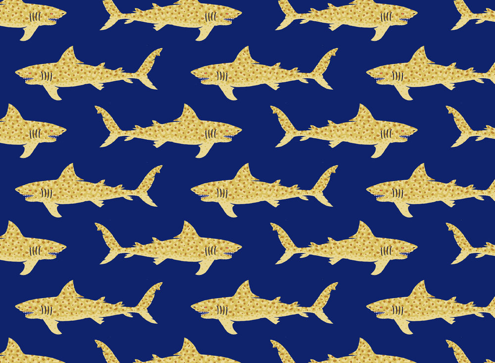 Jaguar shark pattern — now available on  fabric, gift wrap, and wallpaper .