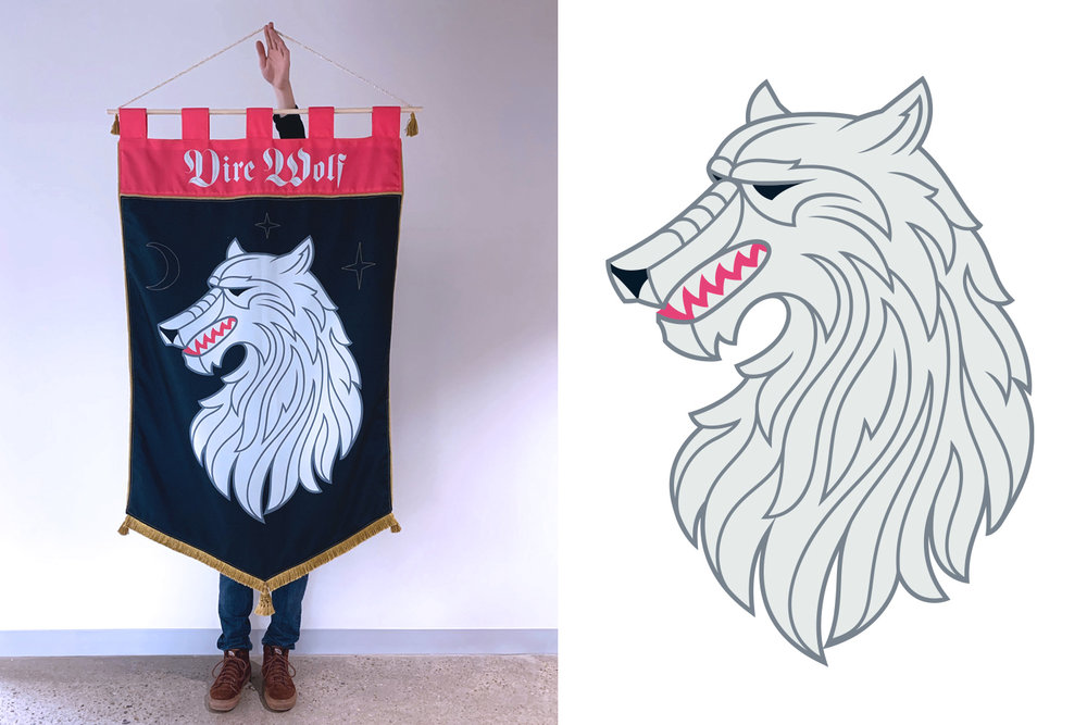 Custom Dire Wolf flag commissioned by Popsockets for Boulder, CO headquarters.