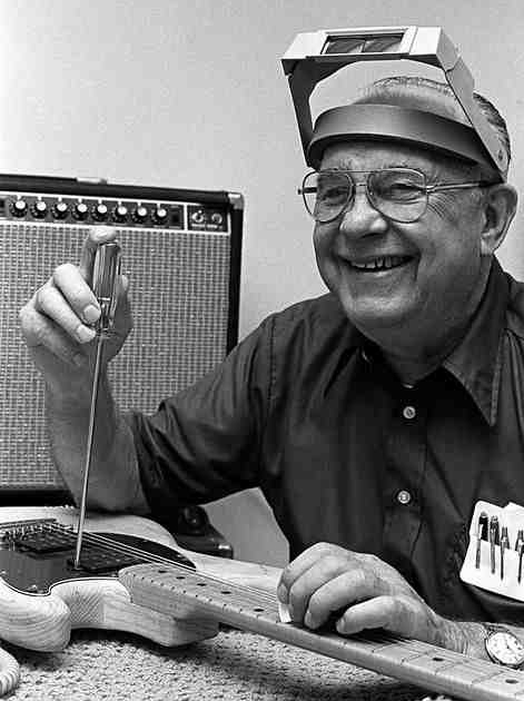 Leo Fender at his work bench in 1977