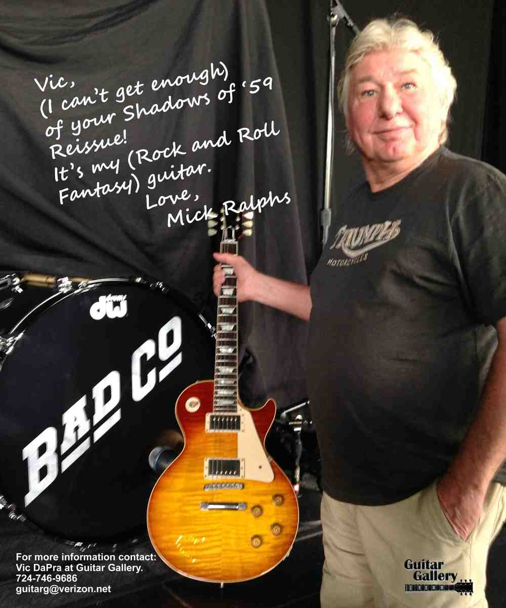 Bad Company's Mick Ralphs with his Shadows of  59 Les Paul Burst by Vic DaPra