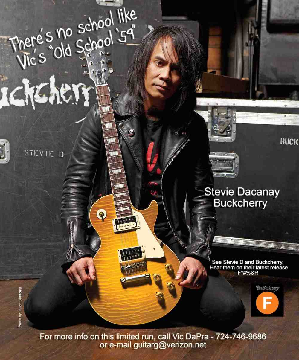Buckcherry's Stevie Dacanay with his Old School 59 Les Paul Burst by Vic DaPra