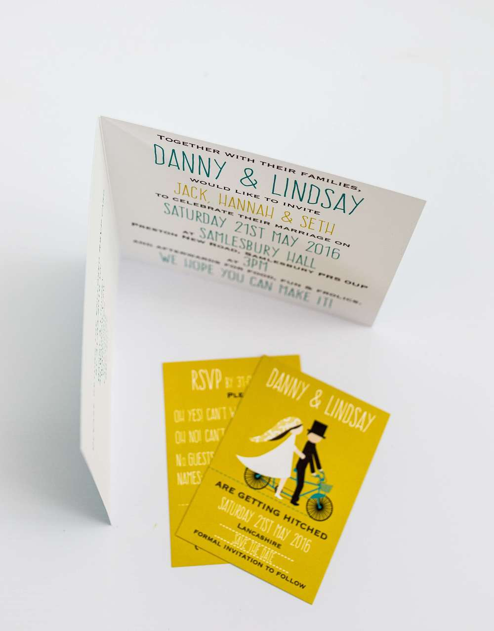 Tandem Bicycle Folded Square Invitation Interior